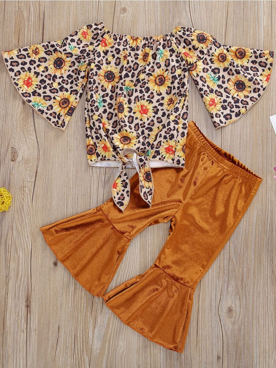 Lovely Stylish O Neck Floral Print Yellow Girl Two