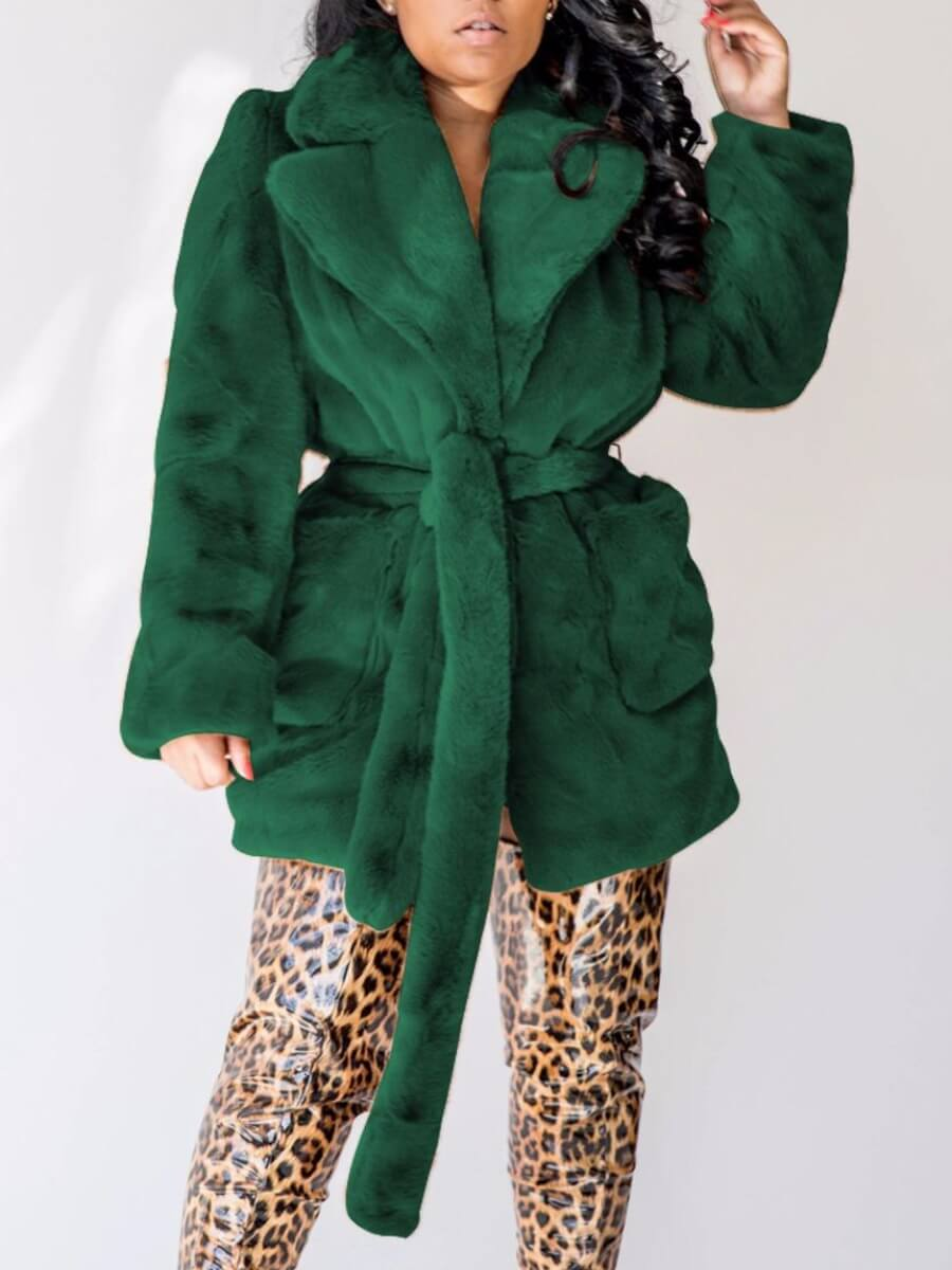 Coat&Jacket lovely Trendy Hooded Collar Pocket Patched Blackish Green Long Coat фото