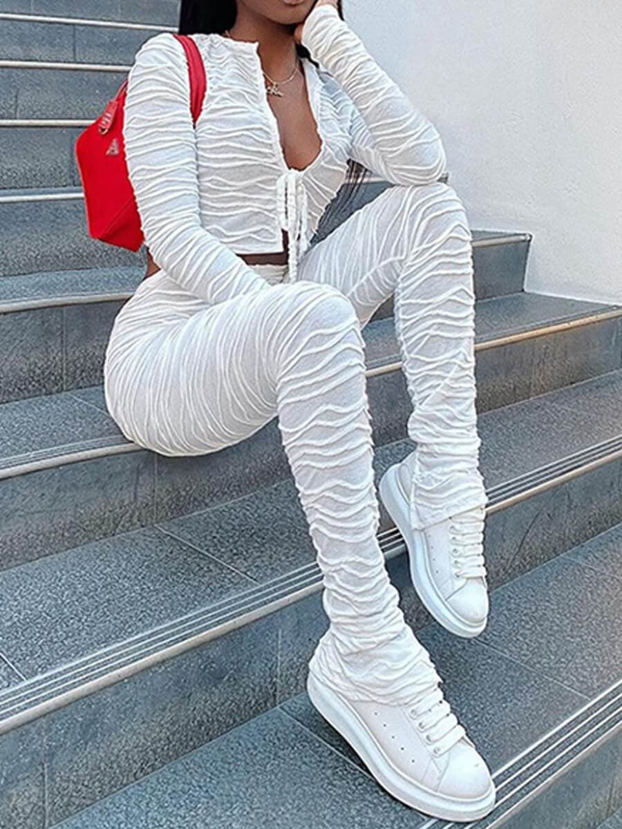 Lovely Trendy Fold Design White Two Piece Pants Se