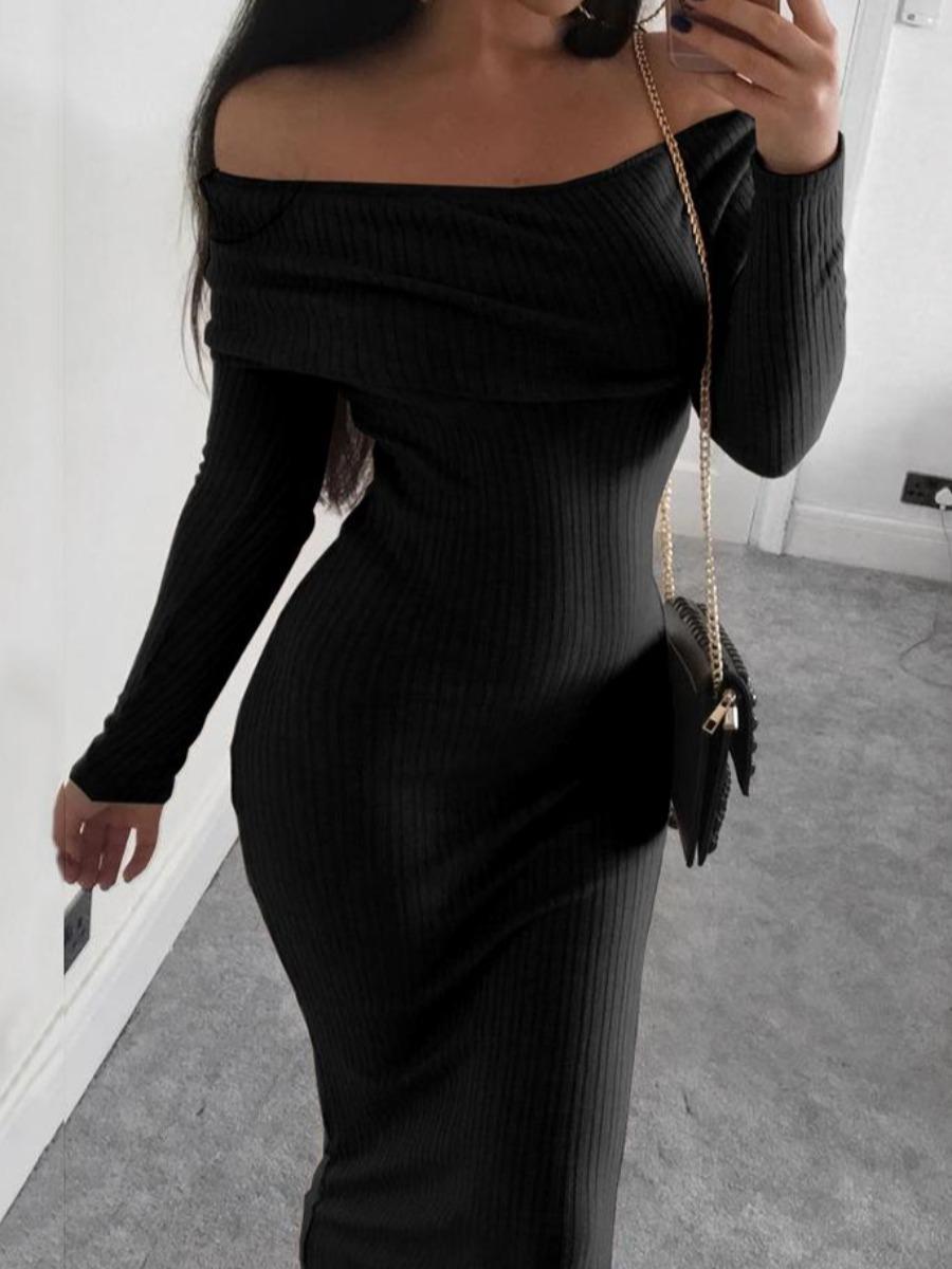 lovelywholesale / LW lovely Sexy Dew Shoulder Skinny Black Mid Calf Dress