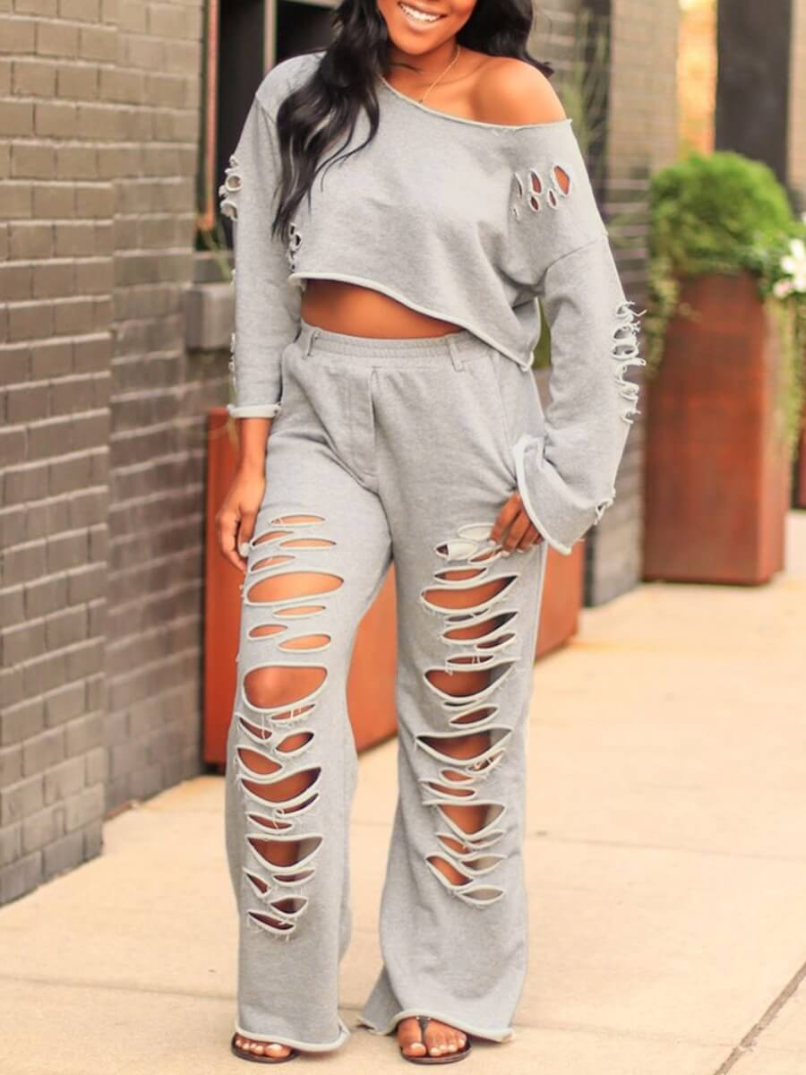 Two-piece Pants Set Lovely Casual O Neck Broken Holes Grey Two Piece Pants Set фото