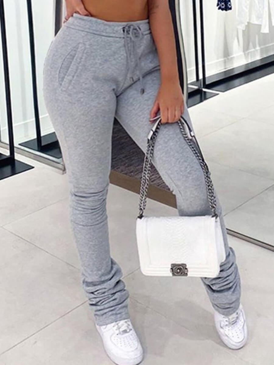 LW Plus Size Casual Fold Design Grey Pants