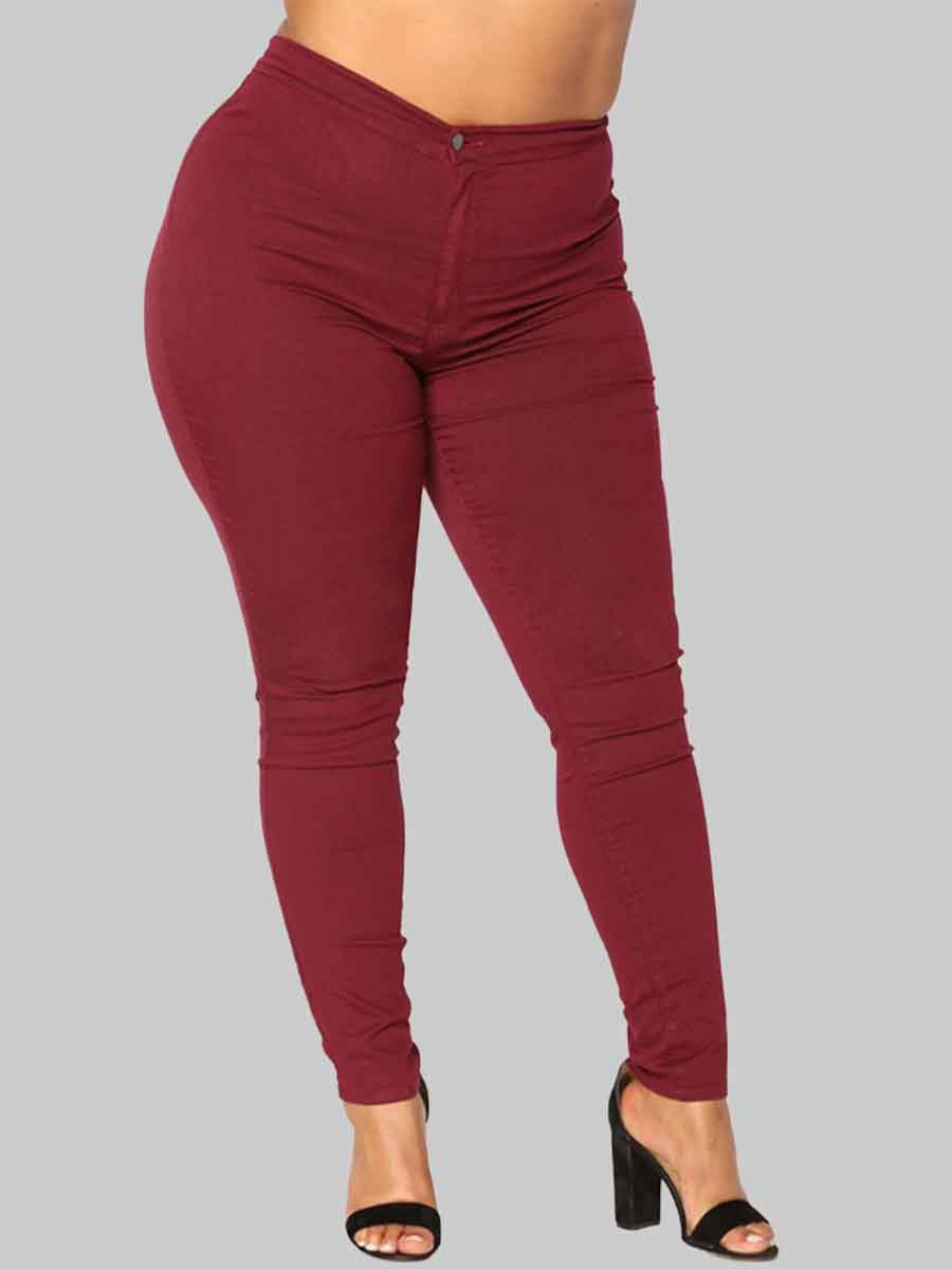 Lovely Casual Basic Skinny Wine Red Plus Size Jeans фото