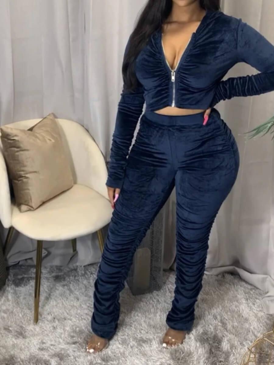 LW Velvet Fold Zipper Design Pants Set