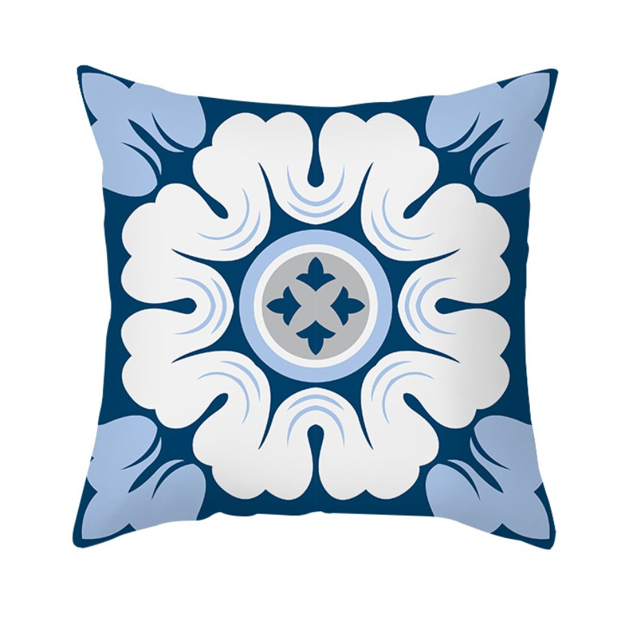 lovely Casual Print Blue Decorative Pillow Case