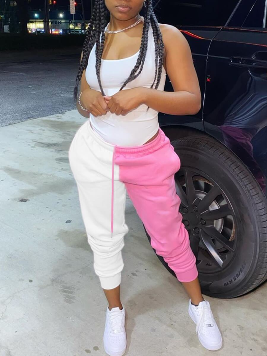 Lovely Street Patchwork Pink Pants
