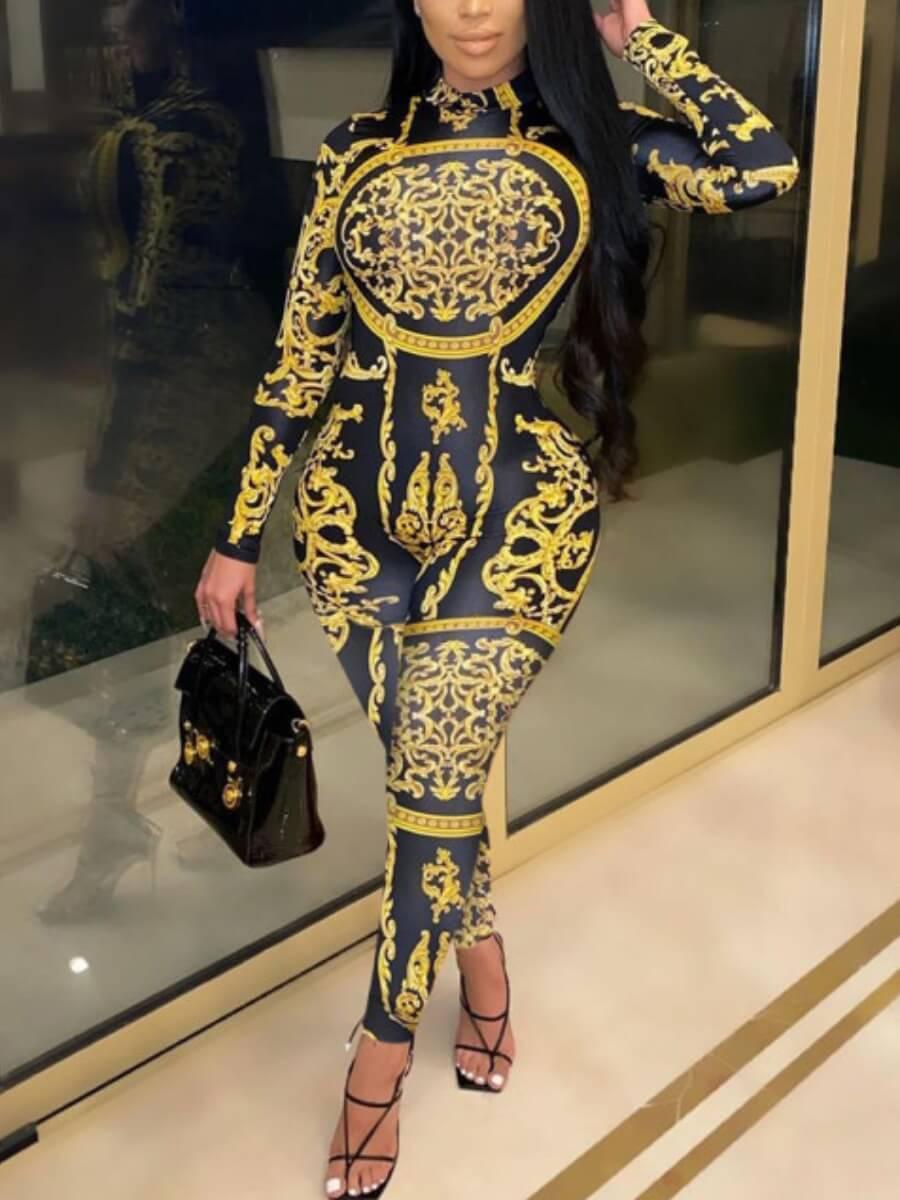 Lovely Trendy Versace Print Skinny Yellow One-piec