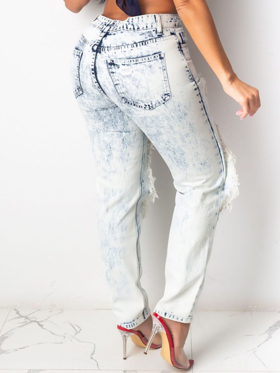 Lovely Street Patchwork White Jeans