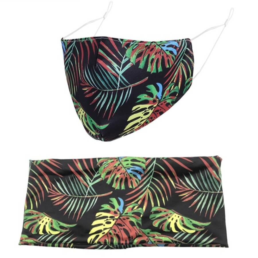 Lovely Plants Print Multicolor Face Mask(With Headband)