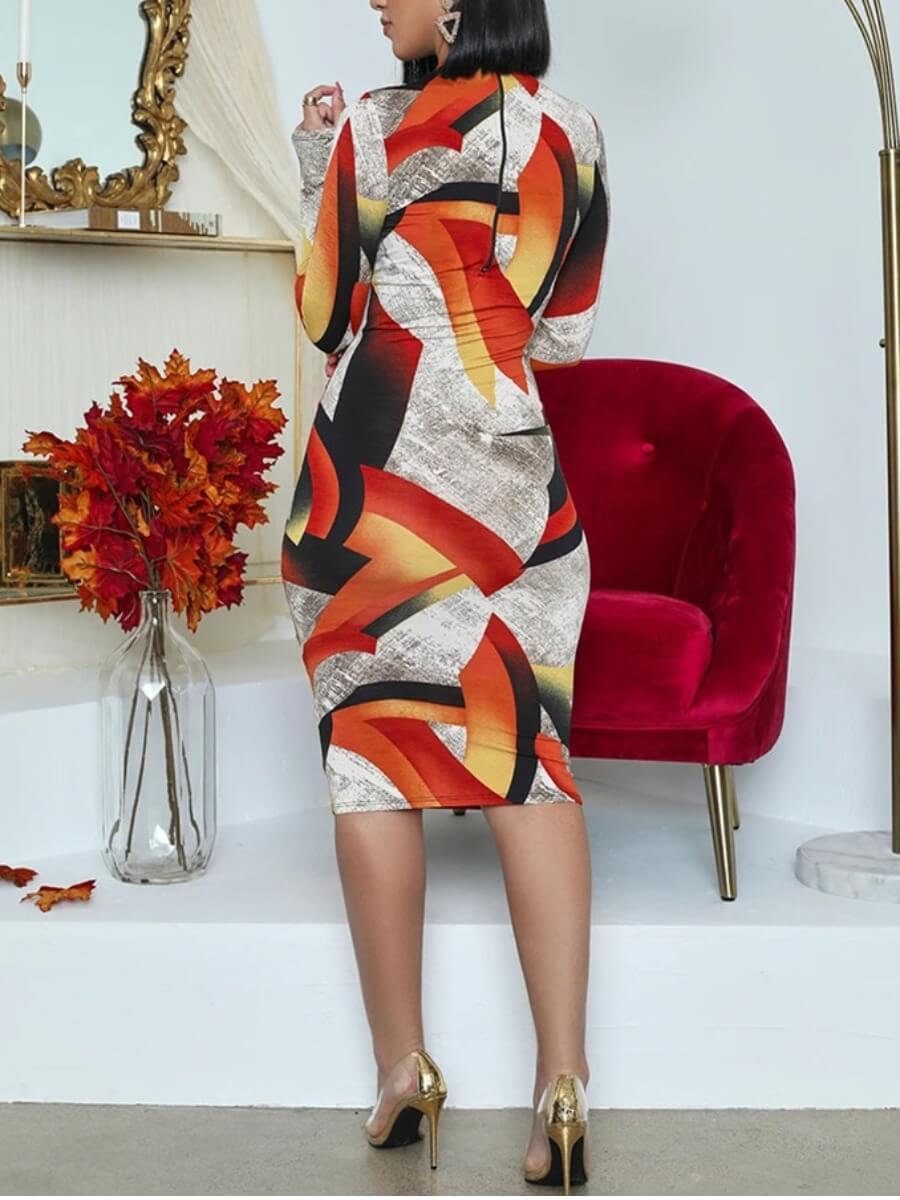 LW Casual Print Hollow-out Orange Knee Length Dress