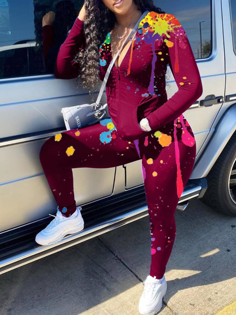 Lovely Casual Graffiti Print Zipper Design Wine Red Two Piece Pants Set