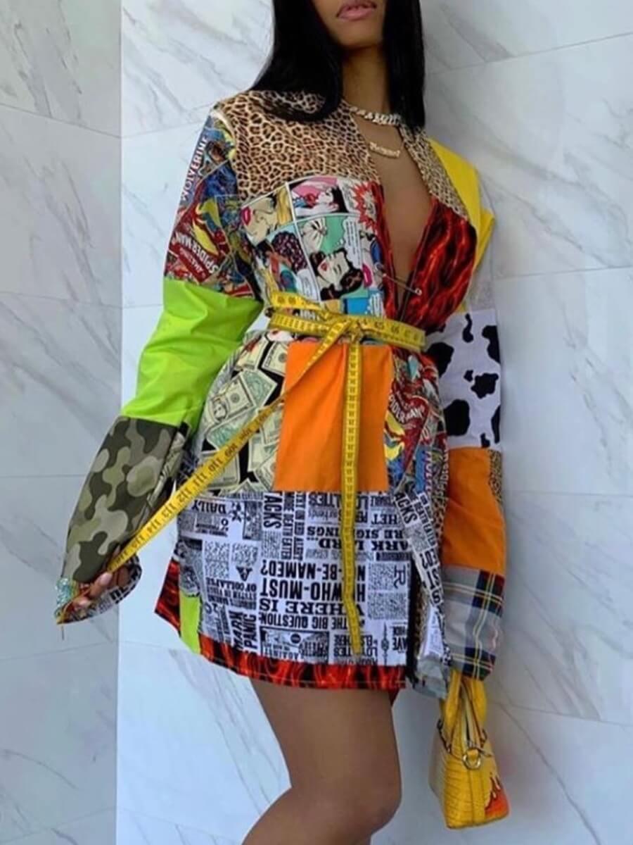 LW Mixed Print Pocket Design Shirt Dress