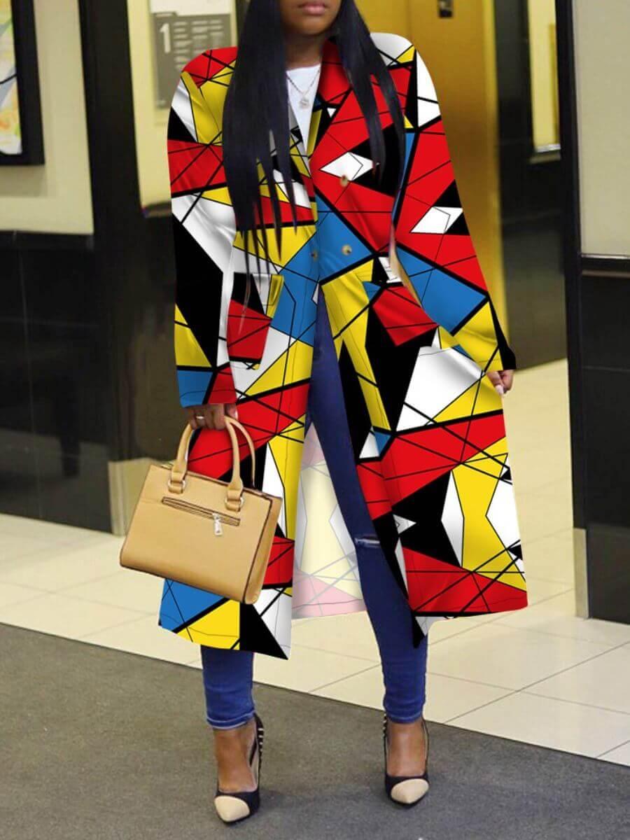 Lovely Plus Size Trendy Turndown Collar Print Multicolor Long Trench Coat