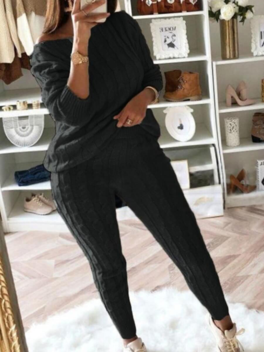 LW BASICS Casual O Neck Striped Black Two Piece Pants Set