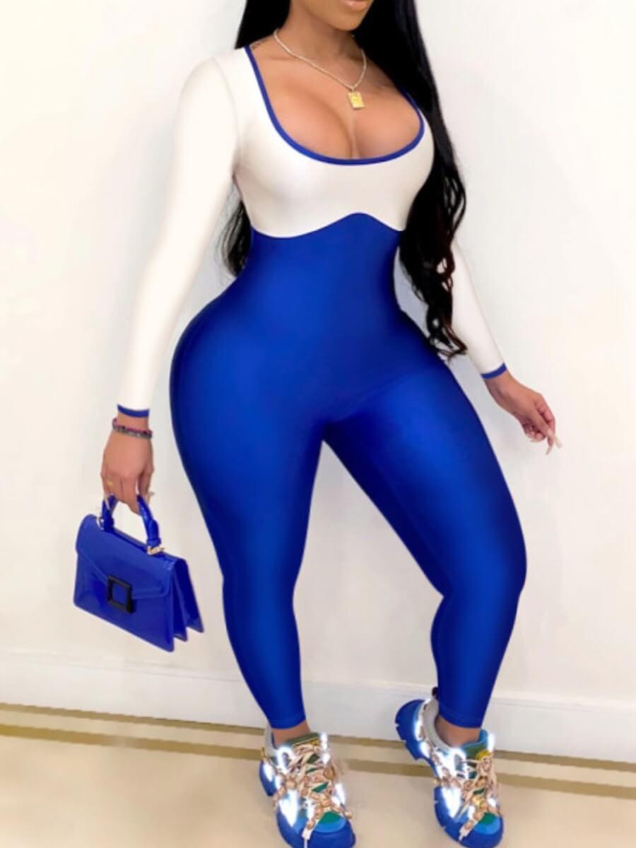 Lovely Sexy U Neck Patchwork Blue Plus Size One-pi