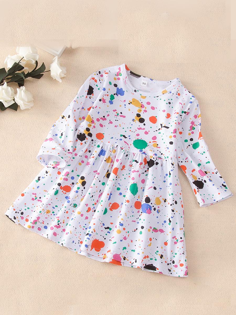 lovely Stylish O Neck Dot Print White Knee Length Dress