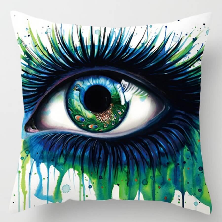 lovely Trendy Eye Print Green Decorative Pillow Case