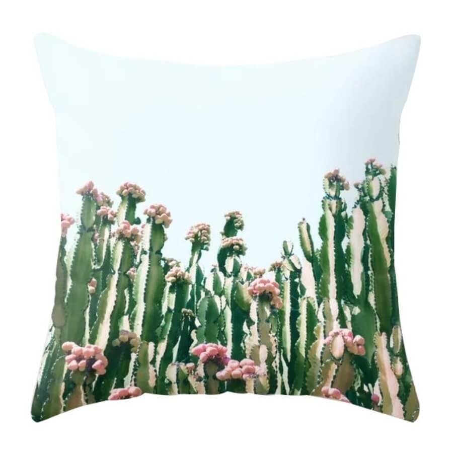 lovely Trendy Plants Print Green Decorative Pillow Case