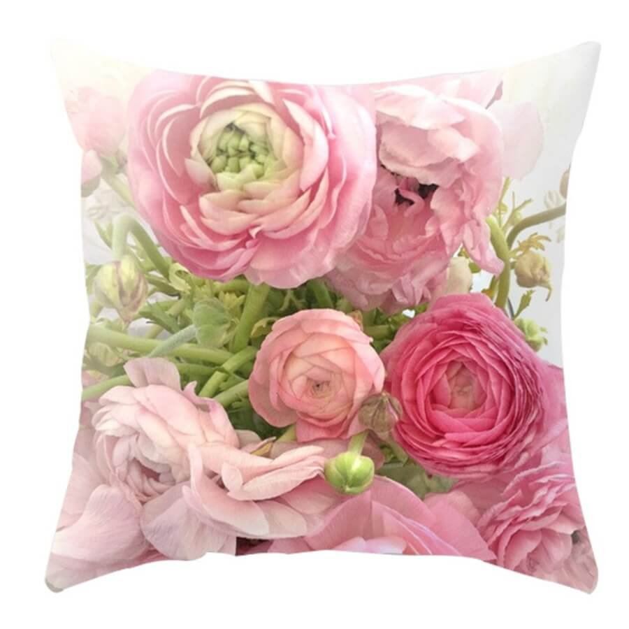 lovely Trendy Floral Print Pink Decorative Pillow Case