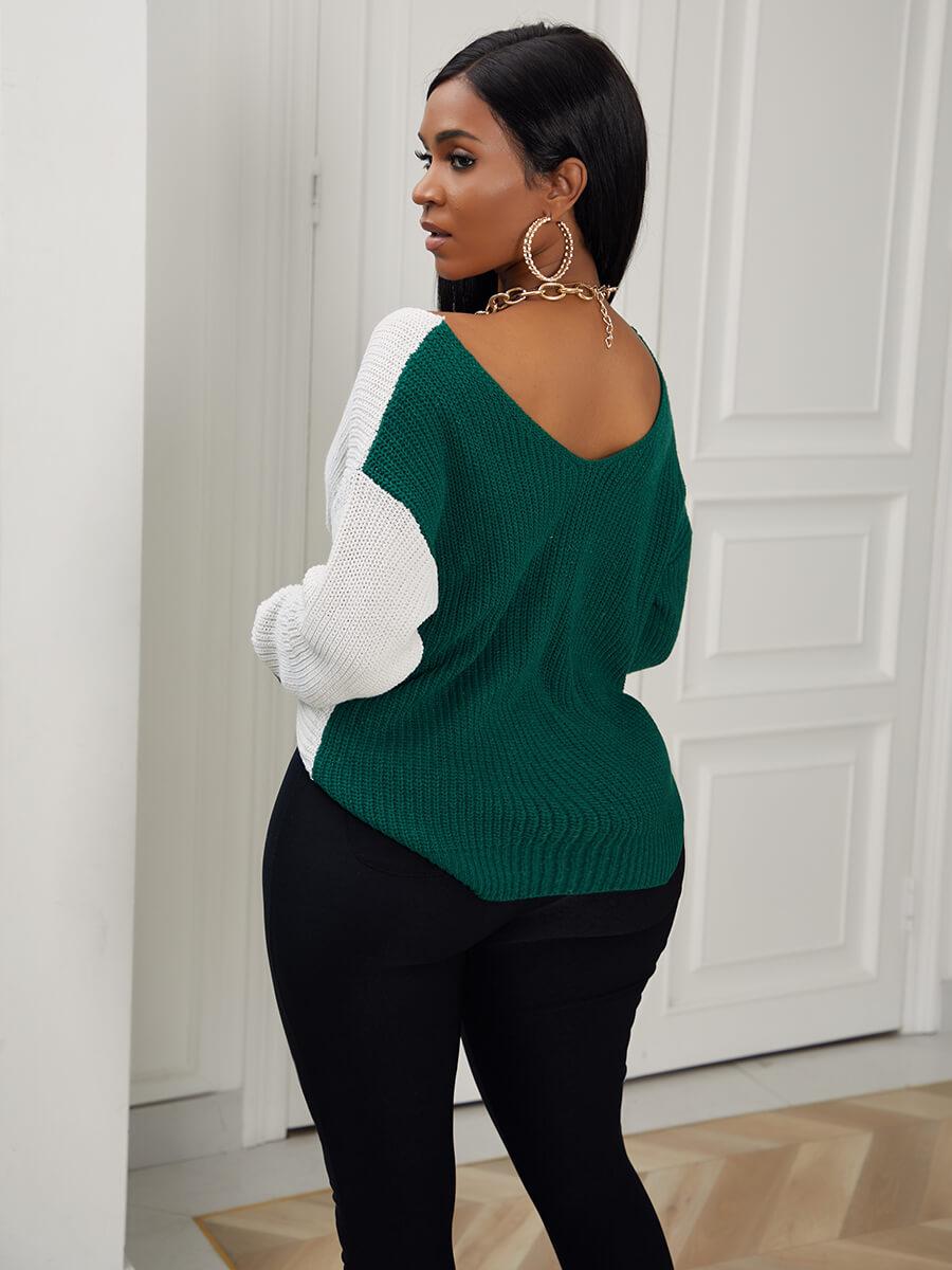 Lovely Trendy V Neck Patchwork Knot Design Green S