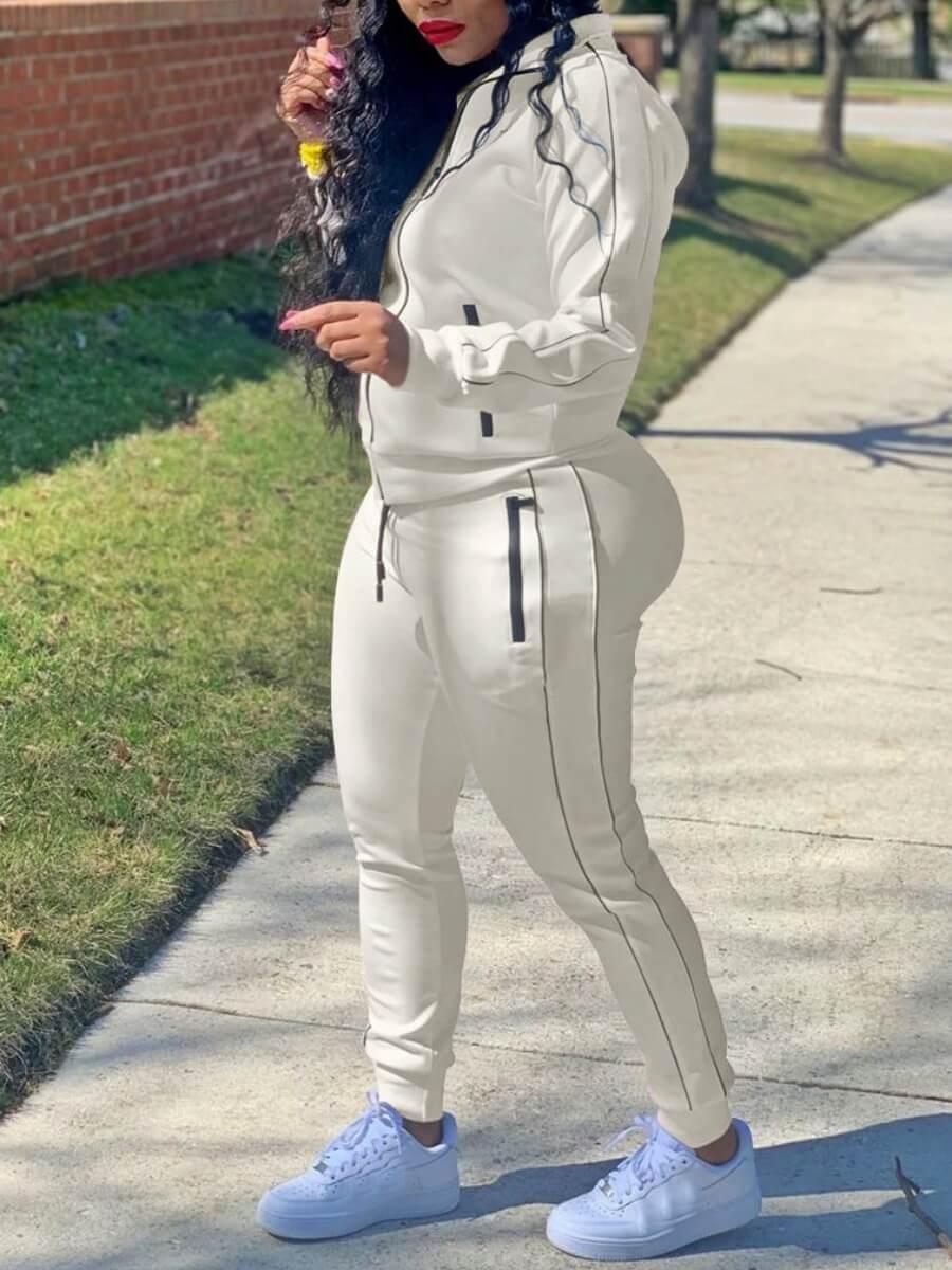 Lovely Sportswear Turndown Collar Patchwork White Two Piece Pants Set