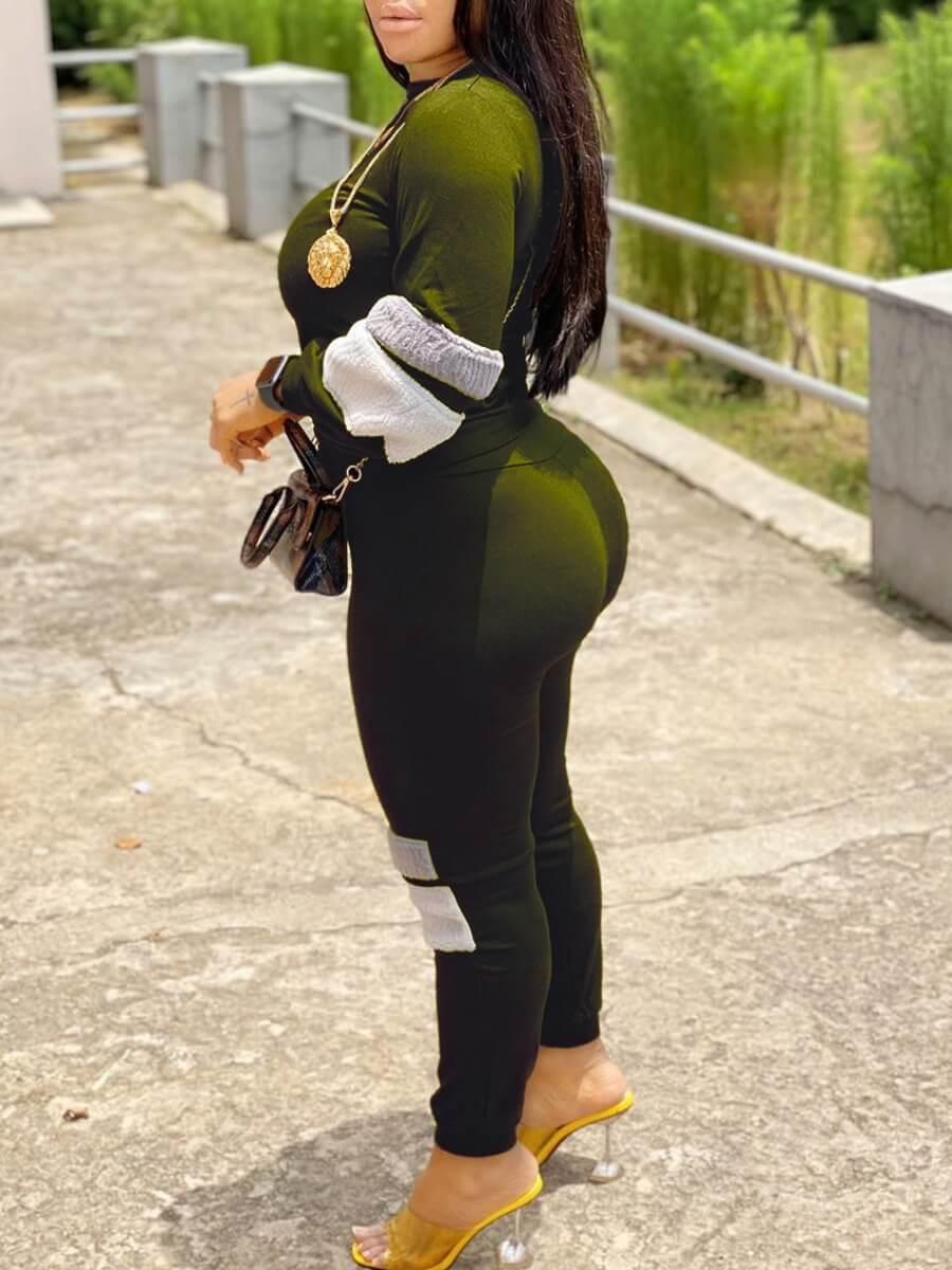 Lovely Sportswear O Neck Patchwork Green Two Piece