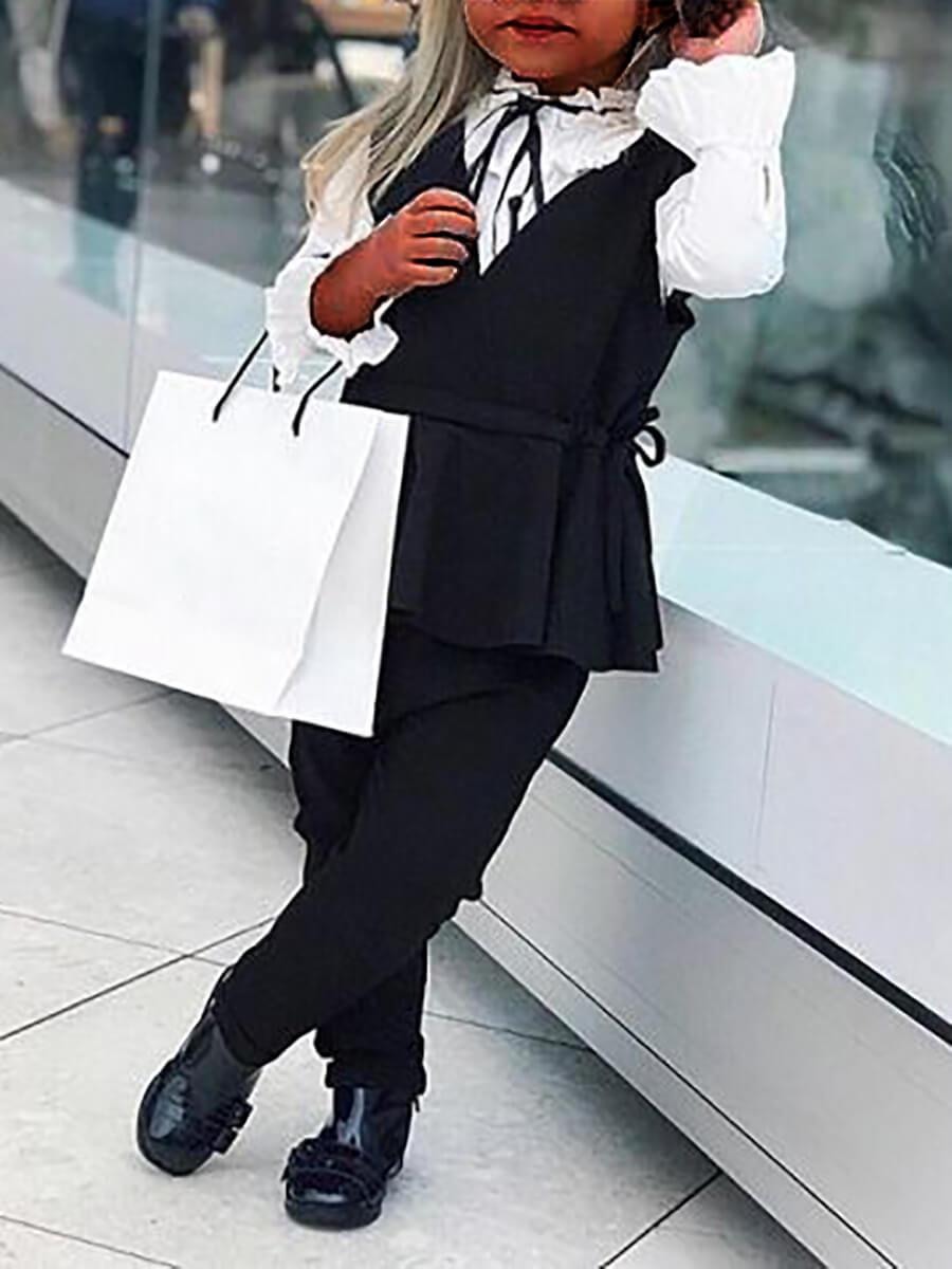 Lovely Trendy Drawstring Flounce Design Black Girl
