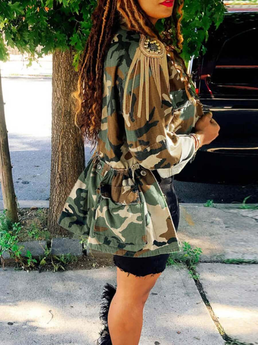 Lovely Leisure Camo Print Plus Size Coat