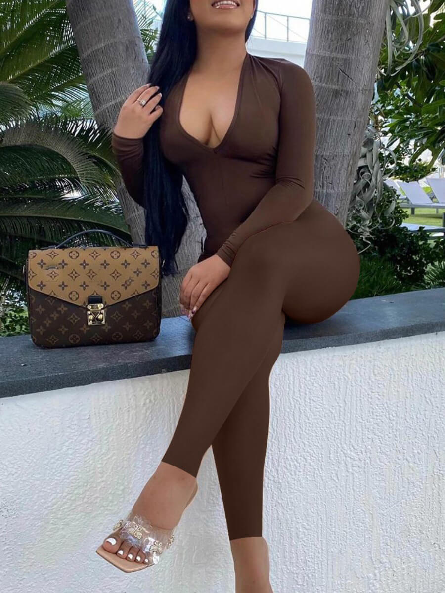 LW Sexy V Neck Hollow-out Drawstring Coffee One-piece Jumpsuit