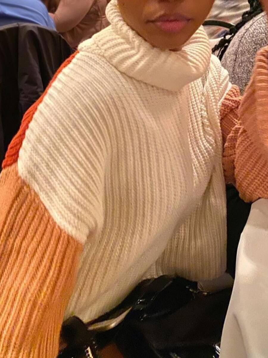 Lovely Street Turtleneck Patchwork White Sweater