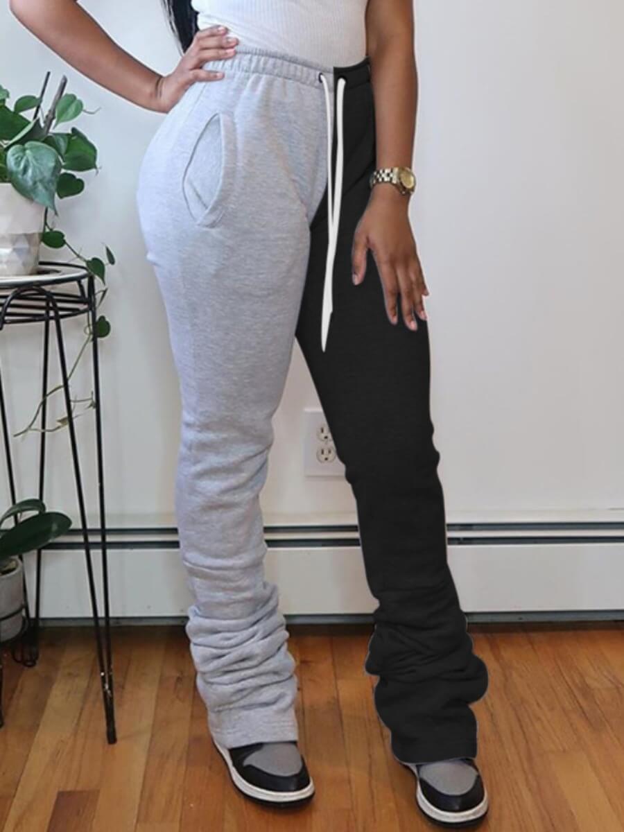 lovelywholesale / LW Lovely Street Patchwork Fold Design Grey Pants