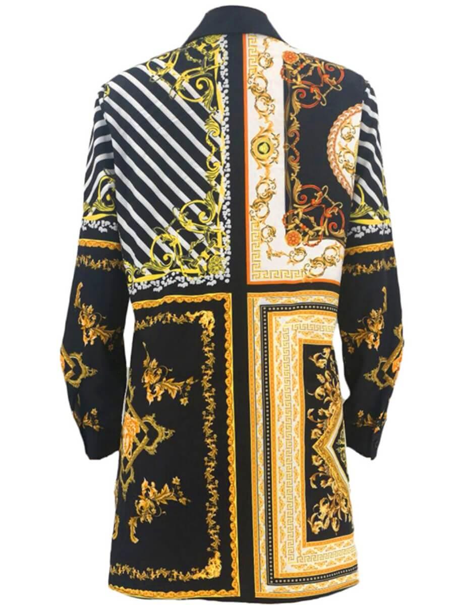 LW BASICS Casual Striped Print Patchwork Black Coat
