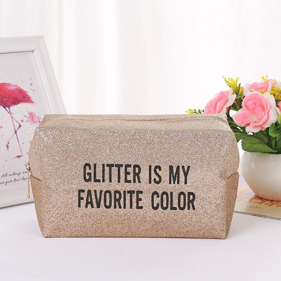 Lovely Casual Letter Gold Makeup Bag
