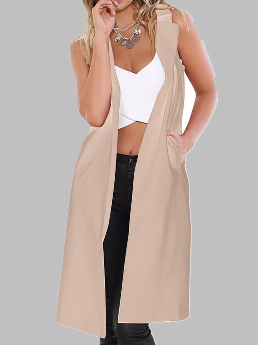 lovely Casual Basic Beige Long Waistcoat
