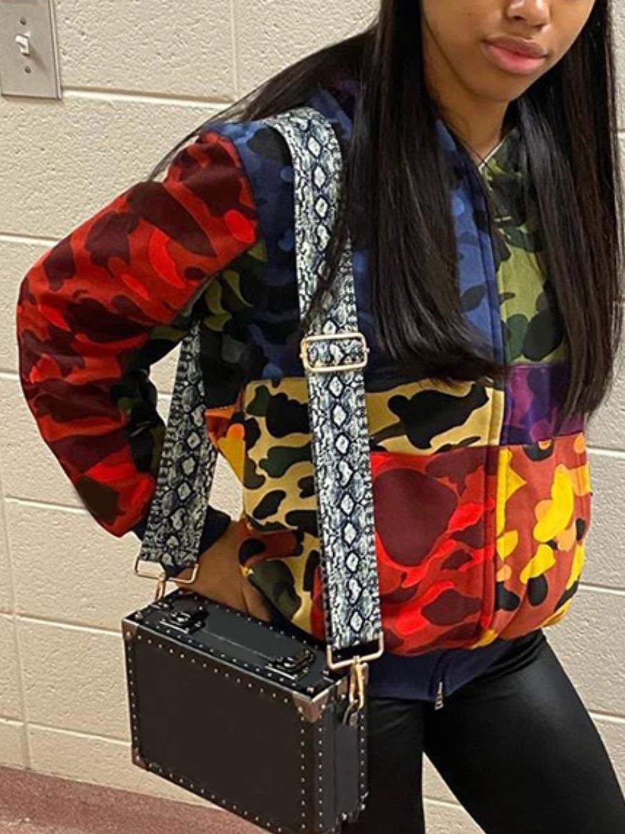 LW Camo Print Color-lump Patchwork Coat