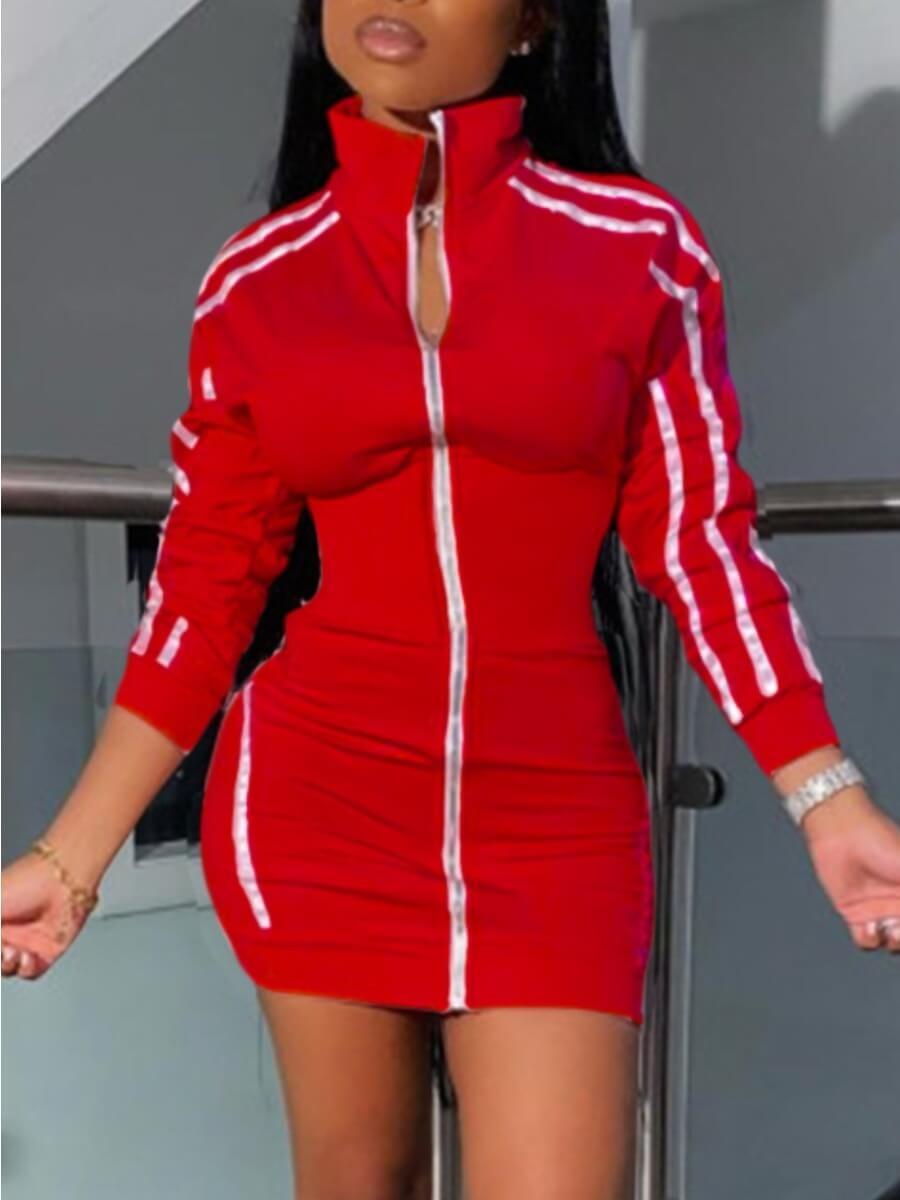Lovely Sportswear Turndown Collar Patchwork Red Ho