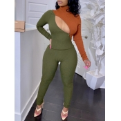 lovely Trendy Turtleneck Patchwork Zipper Design Army Green Two Piece Pants Set
