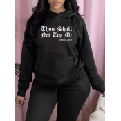lovely Leisure Hooded Collar Letter Print Black Plus Size Hoodie