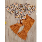 lovely Stylish O Neck Floral Print Yellow Girl Two-piece Pants Set