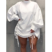 Lovely Casual Half A Turtleneck Fold Design White Mini Plus Size Dress