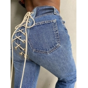 Lovely Street Bandage Design Deep Blue Jeans