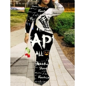 Lovely Street O Neck Letter Print Patchwork Black Maxi Dress