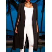 Lovely Chic Side Slit Black Long Blazer