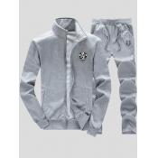 lovely Casual Zipper Design Grey Men Two-piece Pants Set