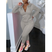 lovely Casual Hooded Collar Zipper Design Grey Two Piece Pants Set