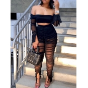 lovely Sexy Dew Shoulder See-through Black Two Piece Pants Set
