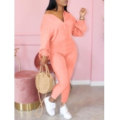 lovely Leisure Zipper Design Pink One-piece Jumpsuit