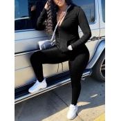 lovely Sportswear Zipper Design Black Plus Size Two-piece Pants Set