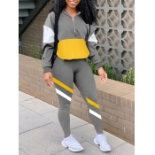 lovely Sportswear Dropped Shoulder Sleeve Patchwork Grey Two Piece Pants Set