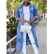 lovely Trendy Turndown Collar Broken Holes Blue Denim Jacket